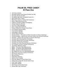 PALM OIL FREE CANDY El Paso Zoo - the  El Paso Zoo