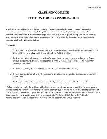 petition for reconsideration form clarkson college