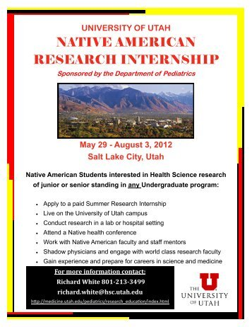NATIVE AMERICAN RESEARCH INTERNSHIP