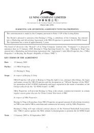 Marketing And Advertising Agreement With NBA Properties - Li Ning