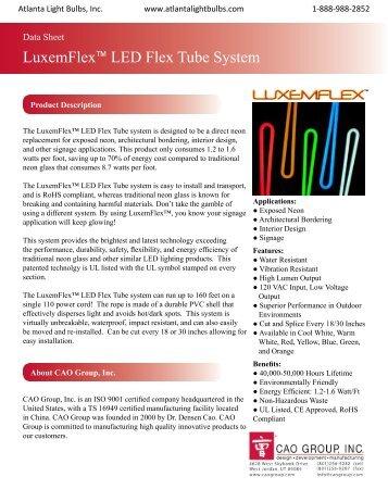Atlanta Light Bulbs, Inc. | CAO Group,  Inc. - LuxemFlex Data Sheet