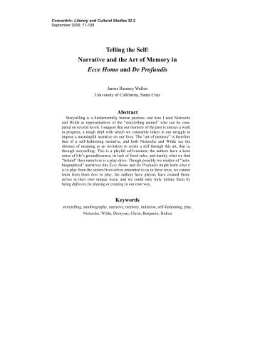 Narrative and the Art of Memory in Ecce Homo and De ... - Concentric