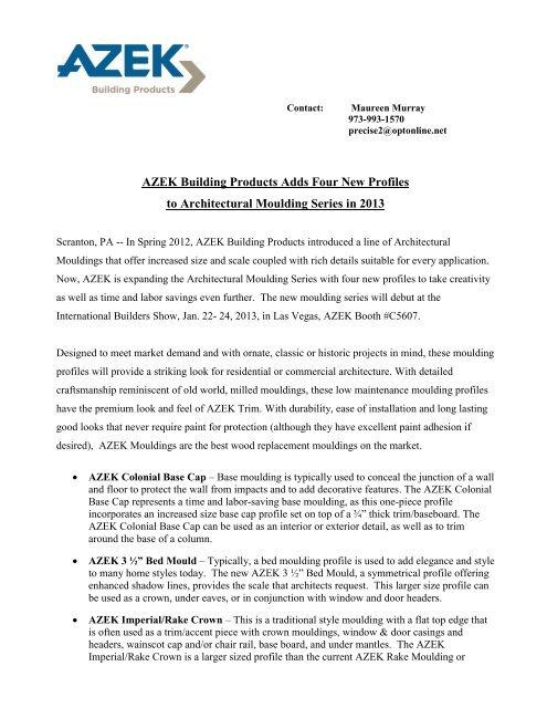 AZEK Architectural Moulding Series - International Builders