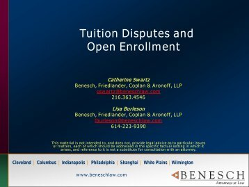 Tuition and Open Enrollment - Benesch