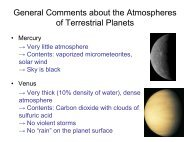 General Comments about the Atmospheres of Terrestrial Planets
