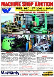 Westcan Auction Flyer - Maynards Industries