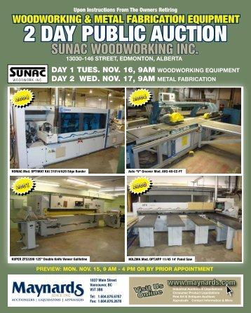 sunac woodworking inc. - Maynards Industries