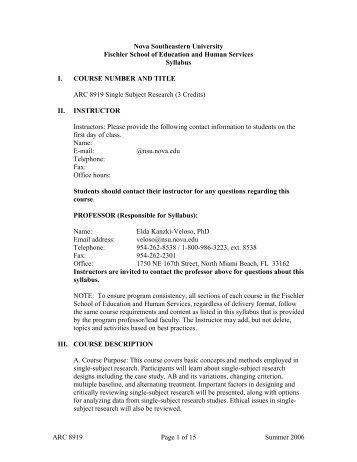 ARC 8919 Single Subject Research syllabus, Web ... - Fischler School