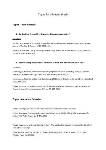 Possible dissertation topics