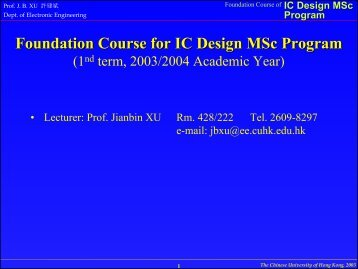 Foundation Course for IC Design MSc Program - Electronic ...