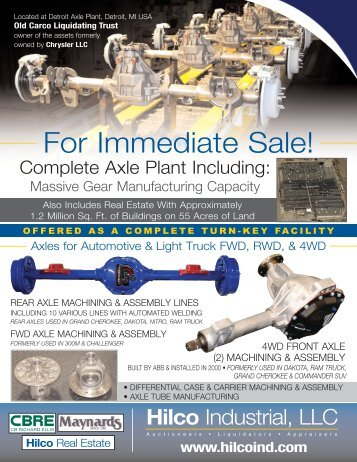 For Immediate Sale! - Maynards Industries