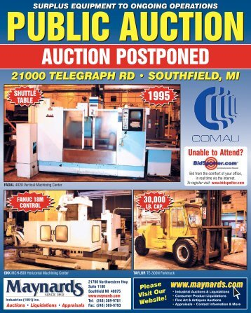 surplus equipment to ongoing operations - Maynards Industries