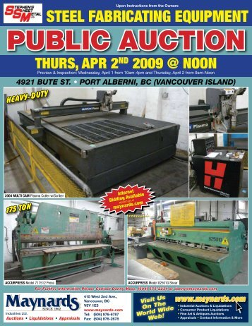 PUBLIC AUCTION - Maynards Industries
