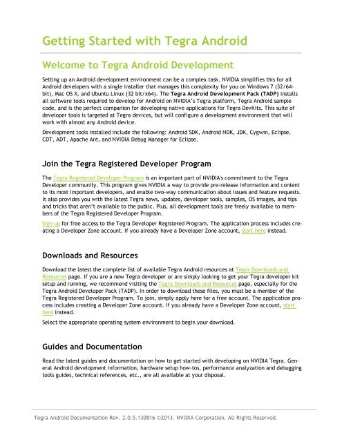 Tegra Android Getting Started Guide - NVIDIA Developer Zone