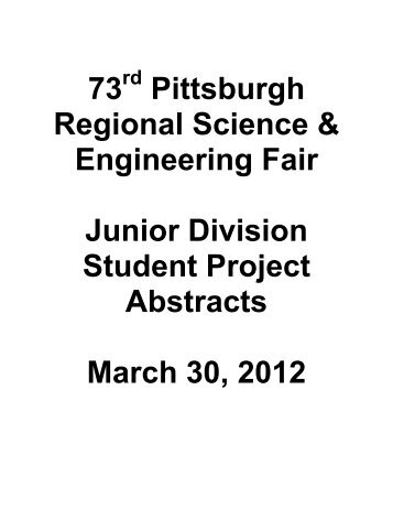 Junior – Physical Science (JPS) - Pittsburgh SciTech Festival