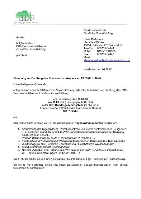Heidesee Den 24 02 06 Einladung Zur Beratung Waldpa Dagogik