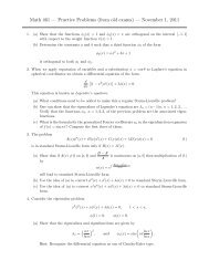 Math 461 — Practice Problems (from old exams) — November 1, 2011