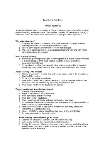 Teachers' Toolbox Action learning - Faculty Development