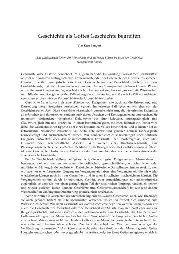 Geschichte als Gottes Geschichte begreifen - Kurt Bangert.de