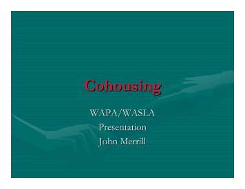 Cohousing - American Planning Association, Wisconsin Chapter