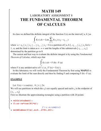 Worksheets Fundamental Theorem Of Calculus Worksheet example 2 let ft 2t math 149 the fundamental theorem of calculus