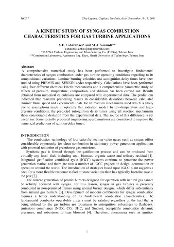 a kinetic study of syngas combustion characteristics for gas turbine ...