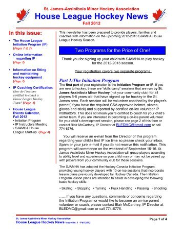 House League Hockey News - St. James Minor Hockey Association