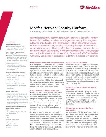 McAfee Network Security Platform - Scunna Network Technologies