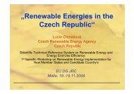 """""""Renewable Energies in the Czech Republic"""" - Czech RE Agency"""