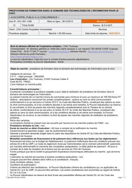 Avis d'appel d'offre à la concurrence du CHU de Toulouse