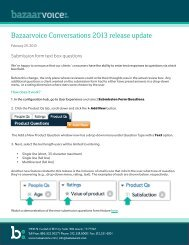 Bazaarvoice Conversations 2013 release update