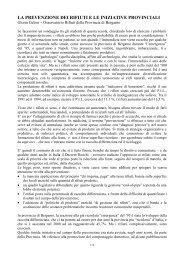la prevenzione dei rifiuti e le iniziative provinciali - Provincia di ...