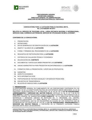 CONVOCATORIA PARA LA LICITACIÓN PÚBLICA NACIONAL ...
