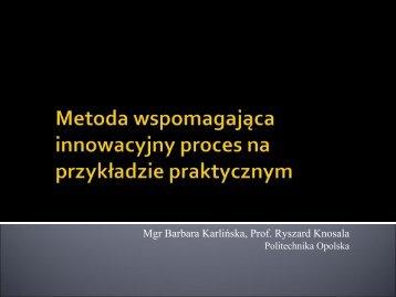 Metoda wspomagająca innowacyjny proces na przykładzie ...