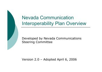 Nevada Communication Interoperability Plan Overview - Emergency ...