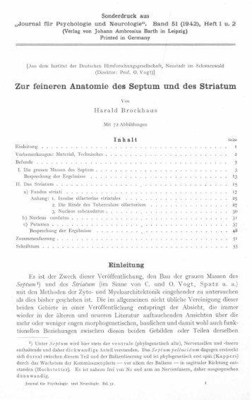 Zur feineren Anatomie des Septum und des Striatum - Atlas of the ...
