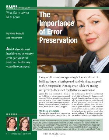 The Importance of Error Preservation - DRI