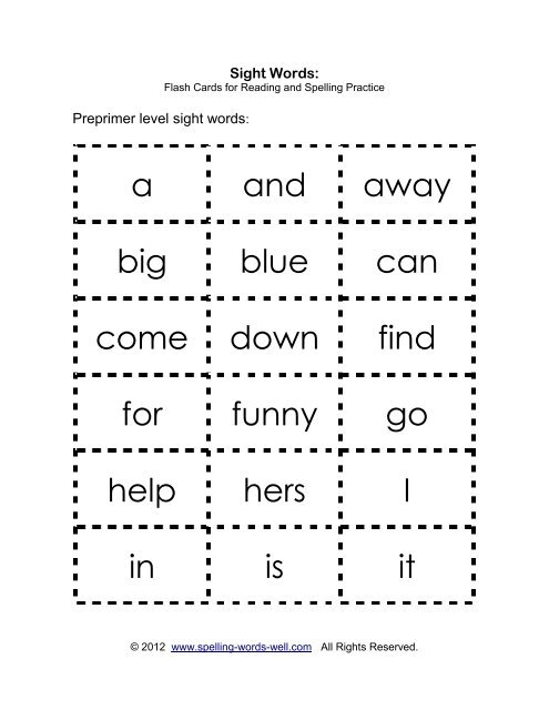 Sight words flash cards - Spelling Words Well