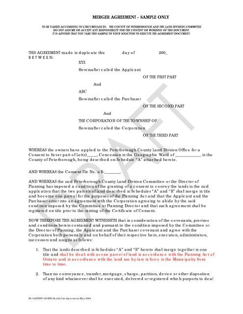 Merger Agreement Sample Only