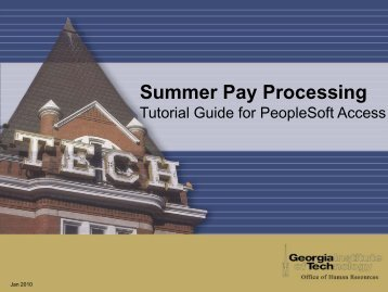 Processing Summer Pay - Georgia Institute of Technology