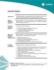 Industrial Hygiene - LEHDER Environmental Services