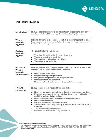 Industrial Hygiene - LEHDER Environmental Services
