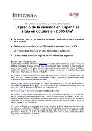 El precio de la vivienda en España se sitúa en octubre ... - Fotocasa