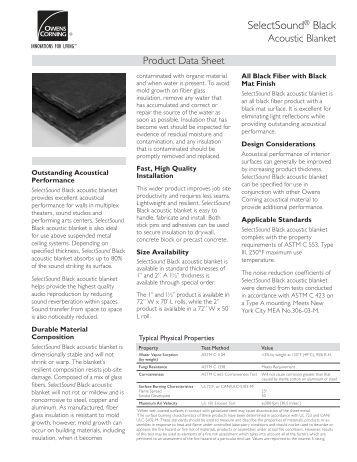Selectsound 174 Black Owens Corning