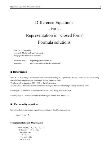 "Difference Equations Representation in ""closed form"" Formula ..."