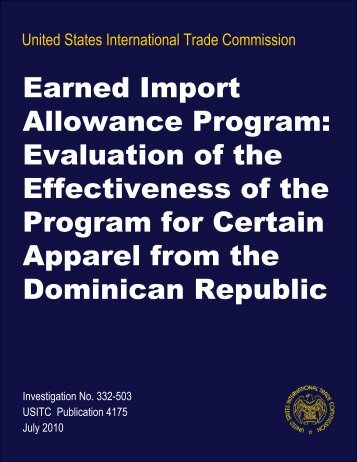 Earned Import Allowance Program: Evaluation of the ... - USITC