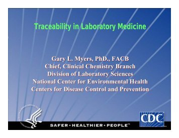 Traceability in Laboratory Medicine - Centers for Disease Control ...