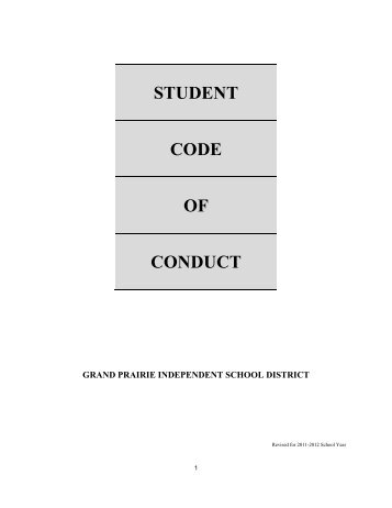 student code of conduct - Grand Prairie Independent School District