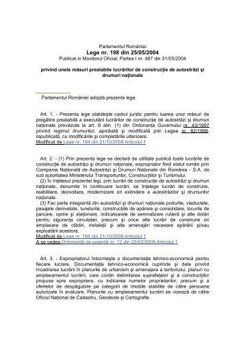 Legea 198/2004 privind Unele masuri prealabile lucrarilor de ...