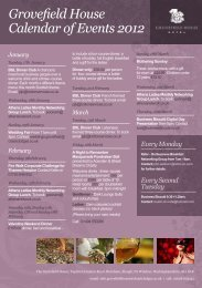 Grovefield House Calendar of Events 2012 - Classic Lodges